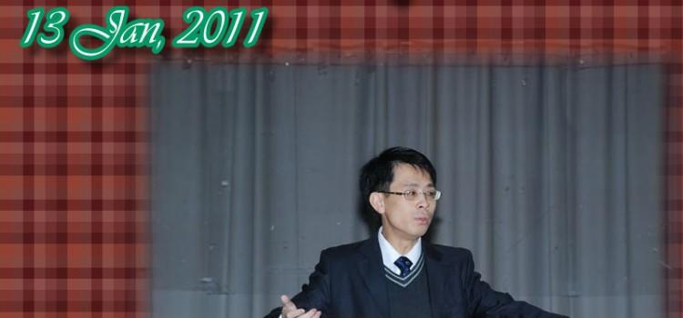 Alumni sharing at whole school assembly