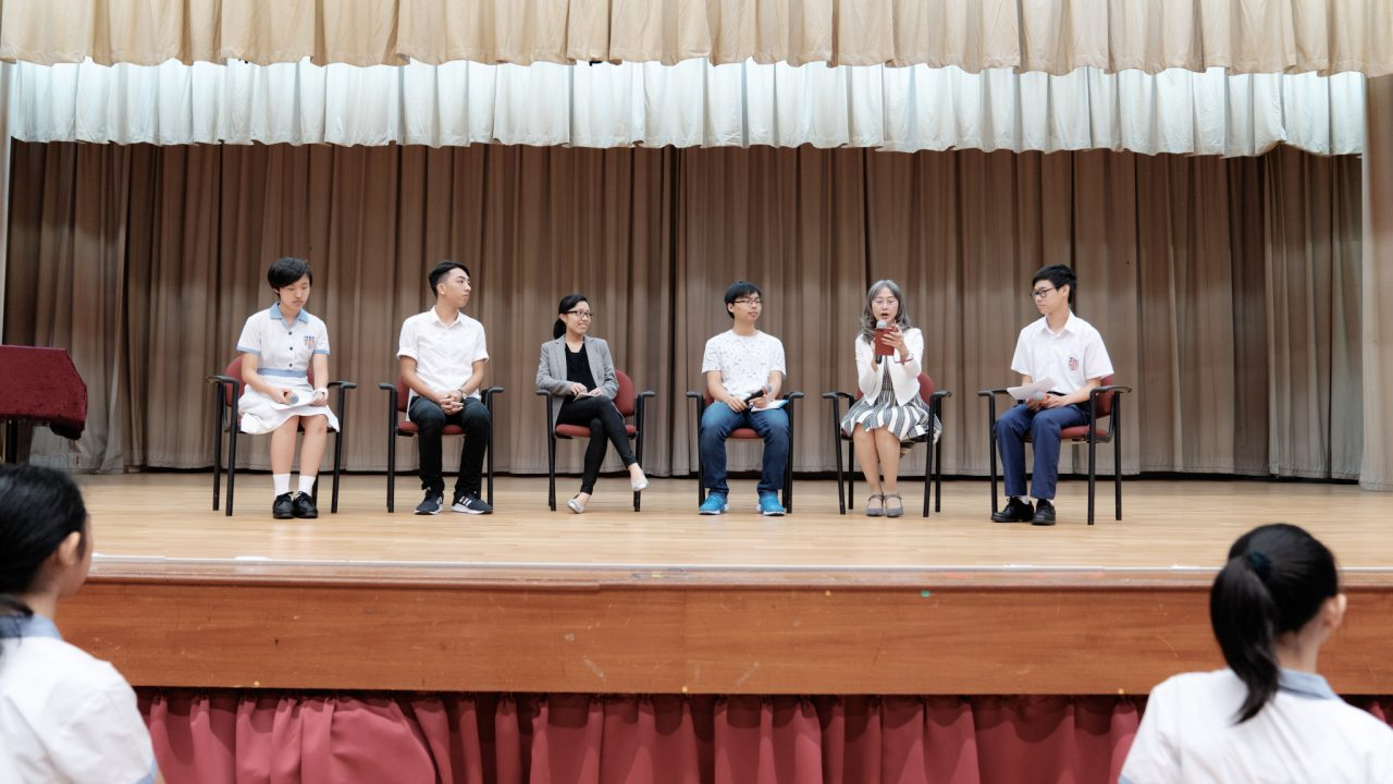 Alumni sharing in a whole-school Assembly