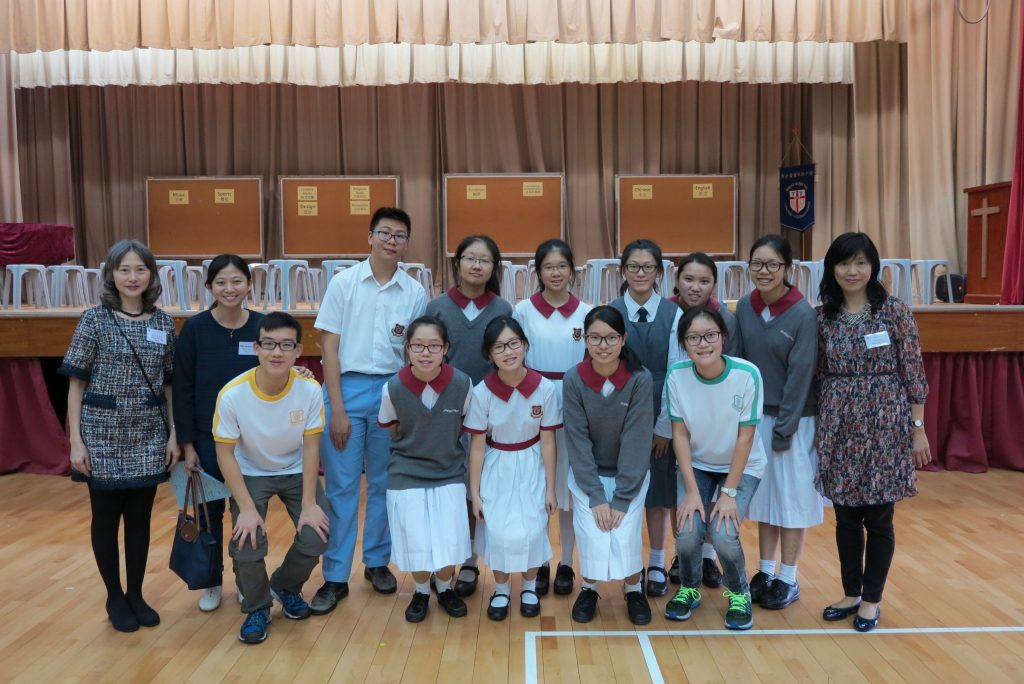 Teacher and students from Christian Alliance S C Chan Memorial College with Career Mistress Mrs Tam (first from left) and Career Teacher Ms. Wong Wai Shan (first from right).
